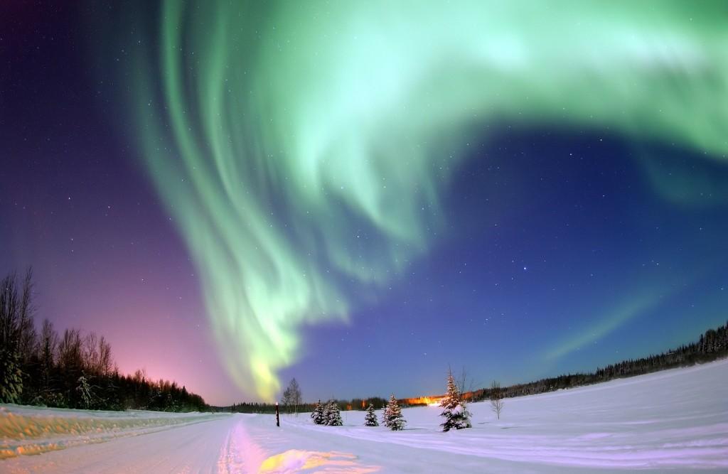 Nordlicht am Himmel in Schweden
