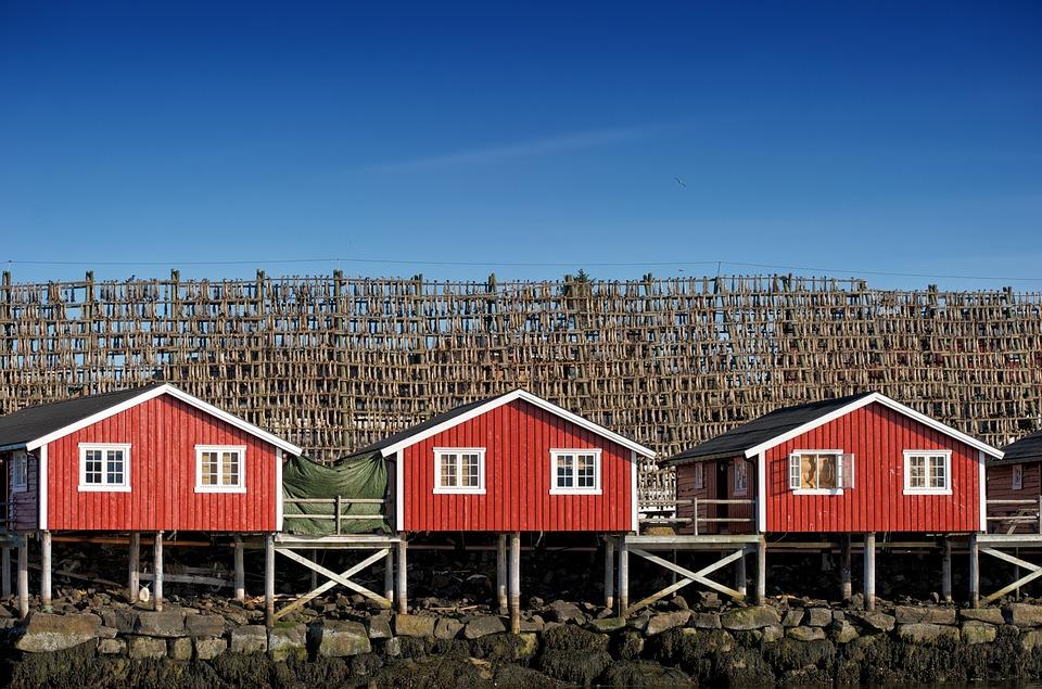Rote Strandhütten