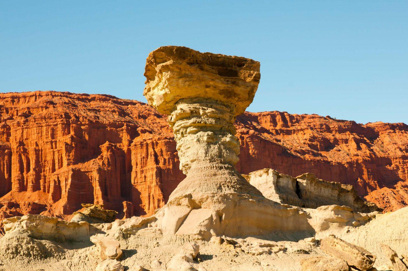 Pilzförmige Gesteinsformation im  Naturreservat Ischigualasto