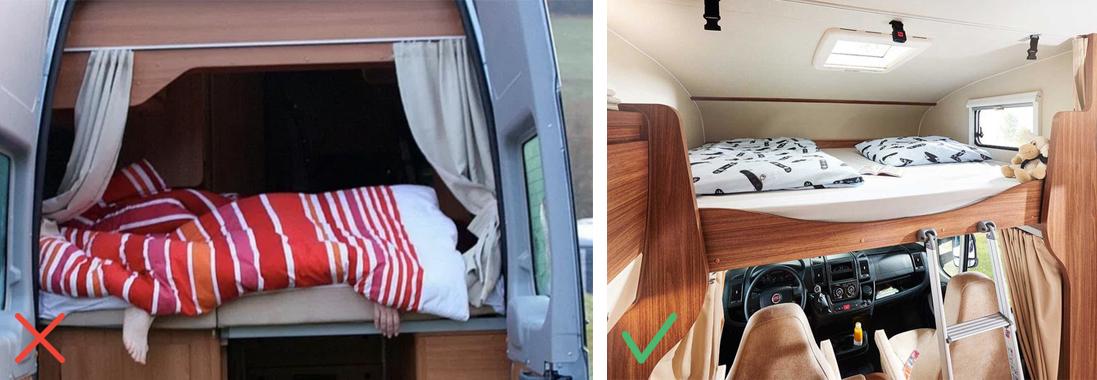 Bett im Wohnmobil, schlecht und schön abgelichtet