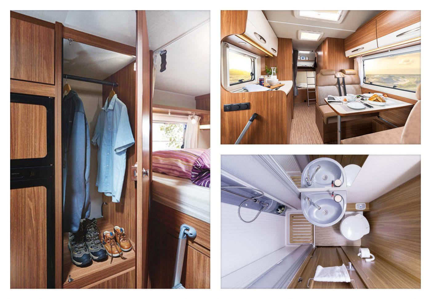 Wohnmobil Innenansichten: Schrank, Küche und Bad