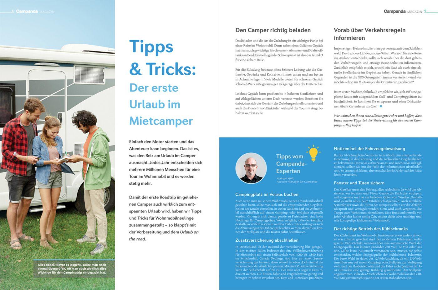 Artikel über Tipps und Tricks für Neu-Wohnmobilisten