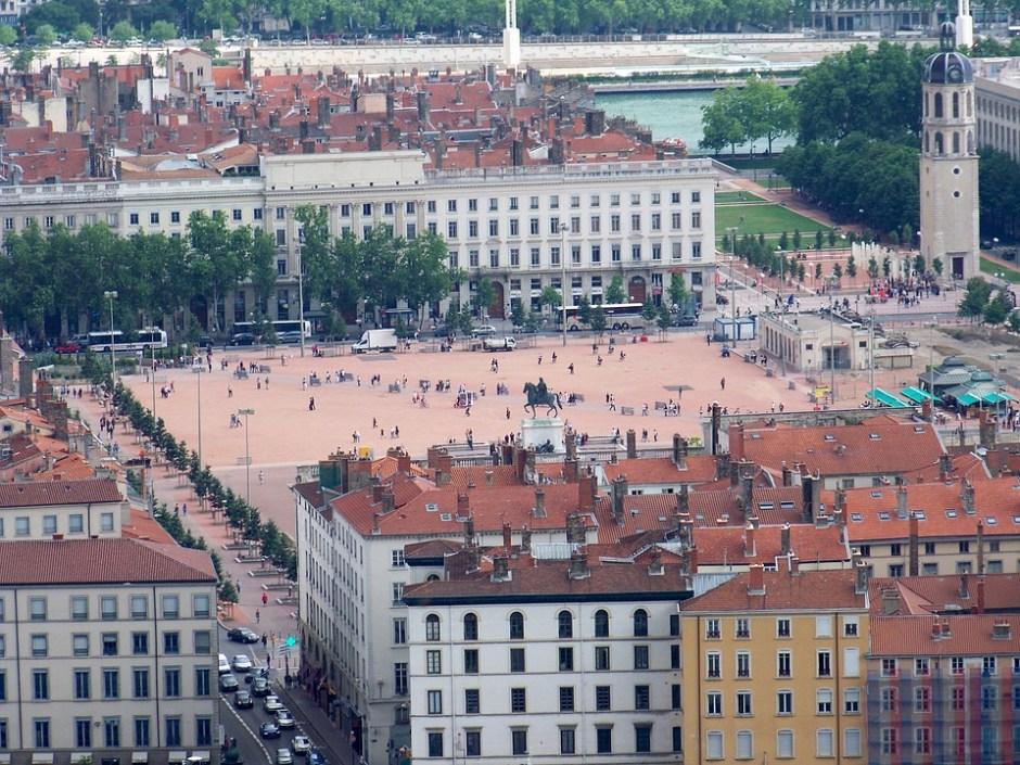der Marktplatz von Lyon aus der Vogelperspektive