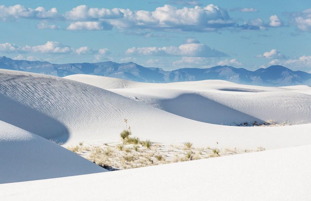 Schneeweiße Dünen im White Sands National Monument.