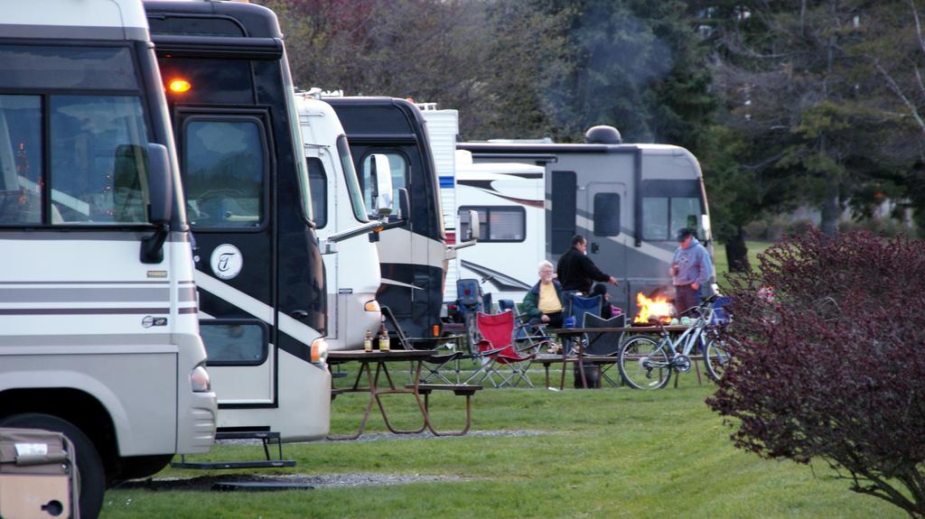 Eine Reihe Wohnmobile auf einem Campingplatz.