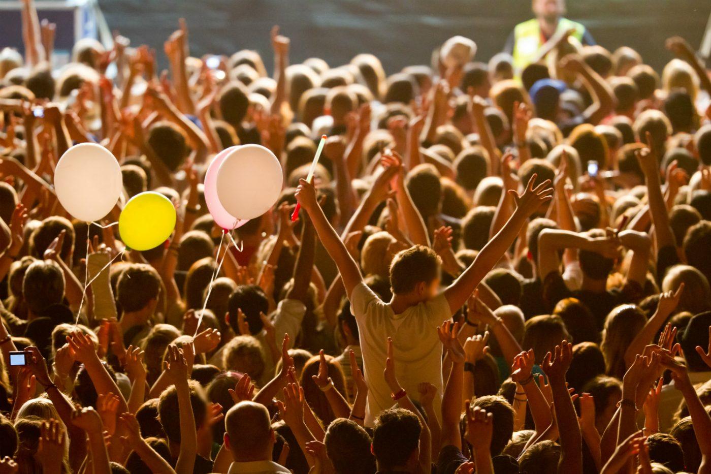 Menschen feiern mit den Händen in der Luft auf dem Sommersault Festival.