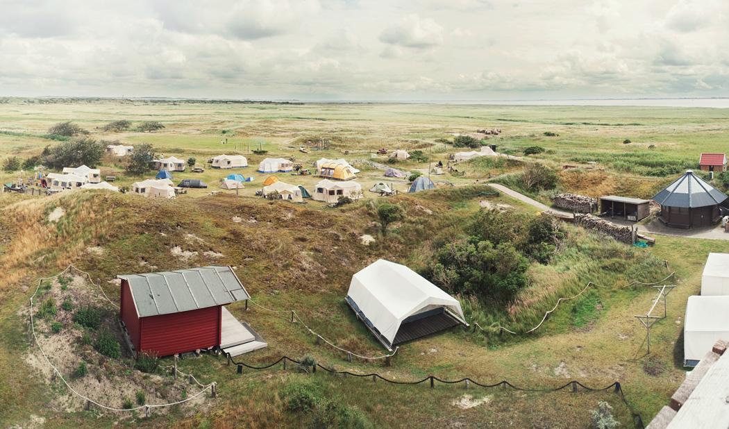 Ein Naturcampingplatz an der Ostsee mit Zelten und Campern.