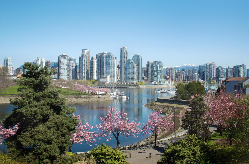 Die Skyline von Vancouver in Kanada.