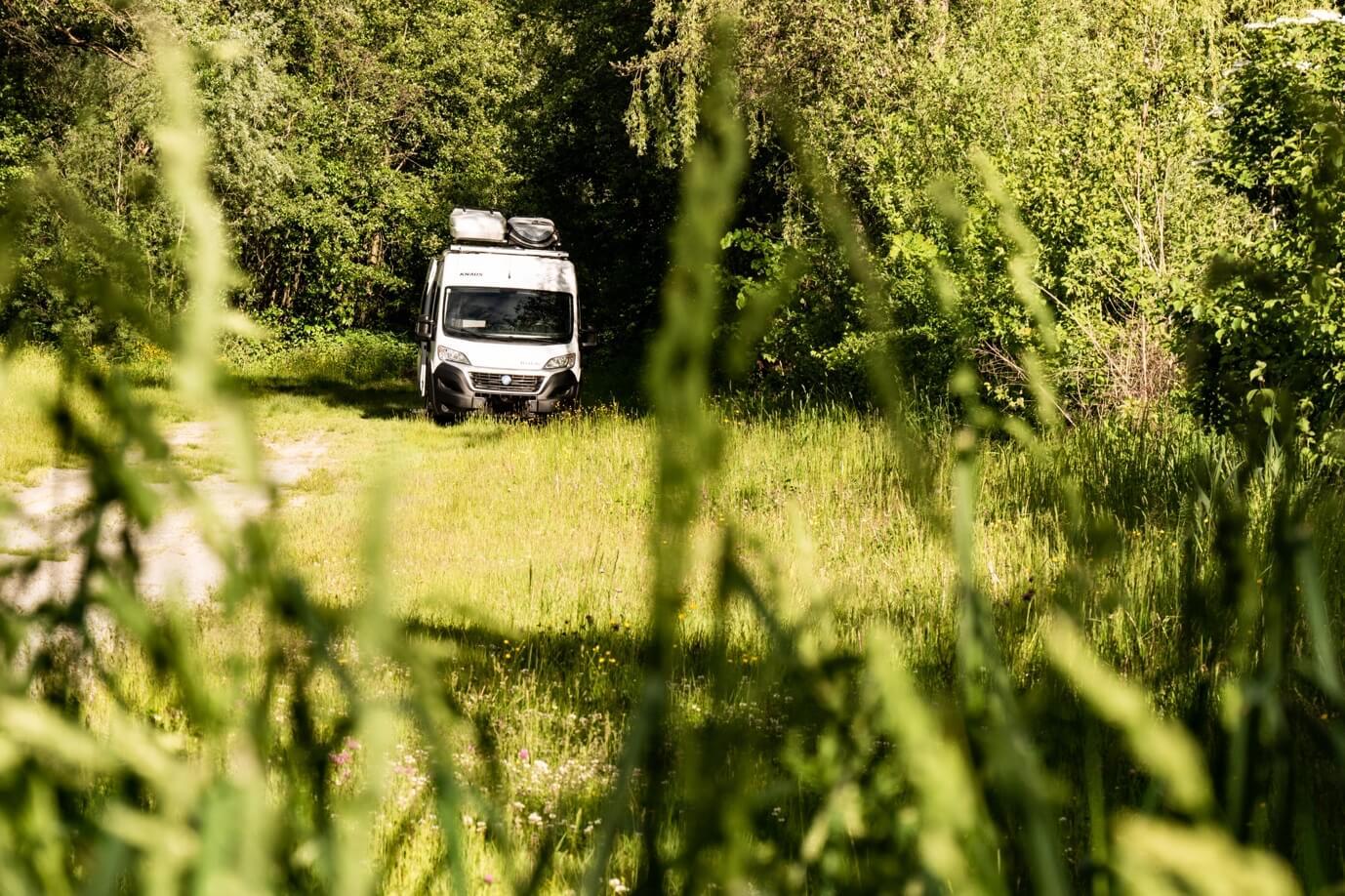 Kastenwagen parkt am Waldrand im Sommer